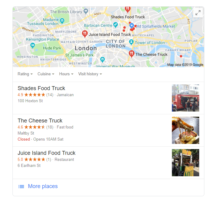 google food truck map