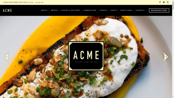 Acme Restaurant Website Design