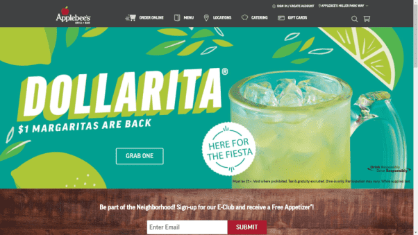 Applebee's Restaurant Website Landing Page Design