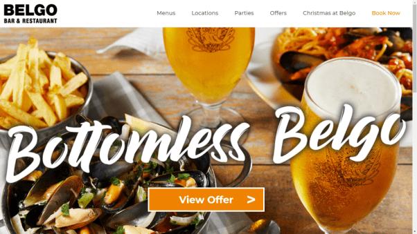 belgo restaurant landing page