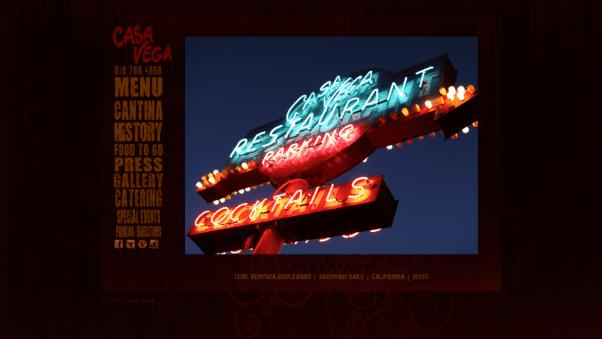 Casa Vega Restaurant Landing Page