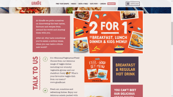 Giraffe Restaurant Website Design