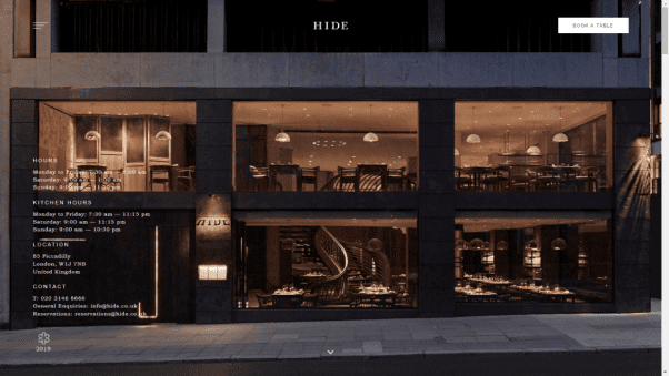 Hide Restaurant Website