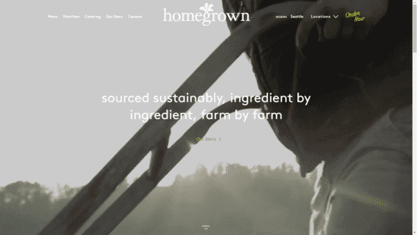 Homegrown Restaurant Website Design