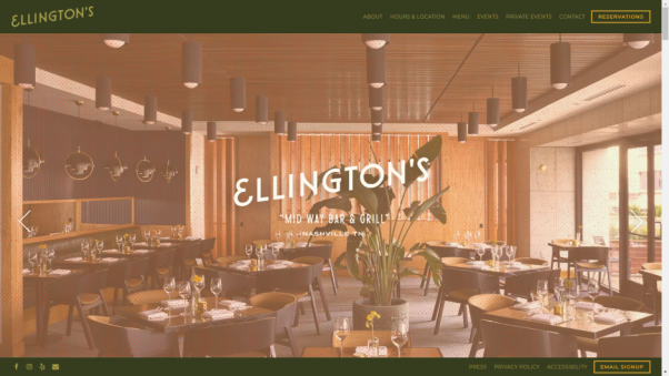 ellingtons restaurant website design landing page