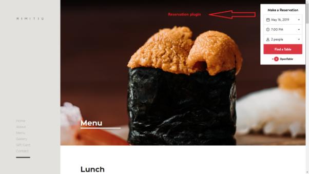 himitsu restaurant website design