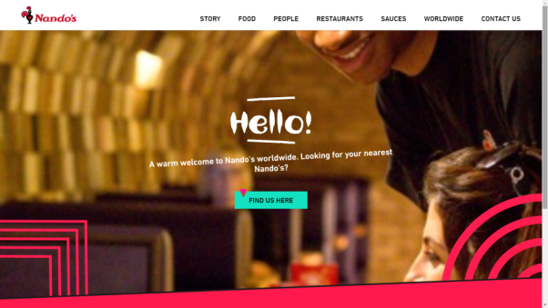 nando's restaurant landing page