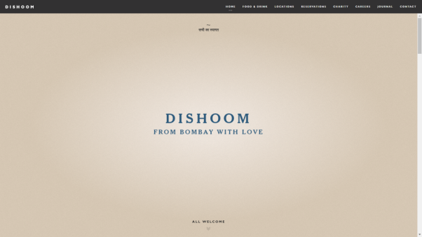 dishoom restaurant landing page
