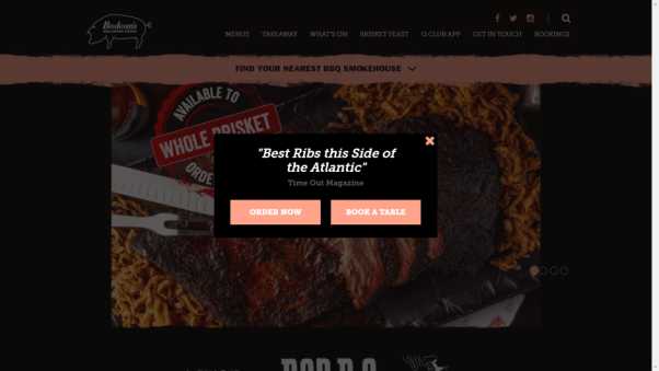 bodean's bbq restaurant website design