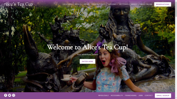 alice's tea restaurant website design