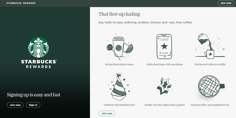 starbucks loyalty program landing page