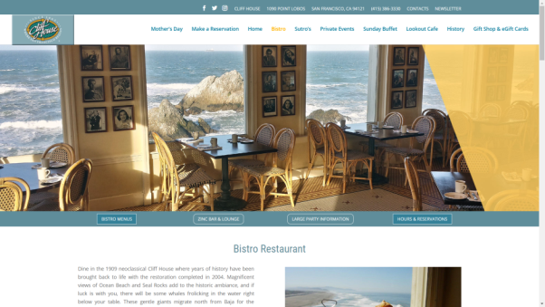 cliff house restaurant website design