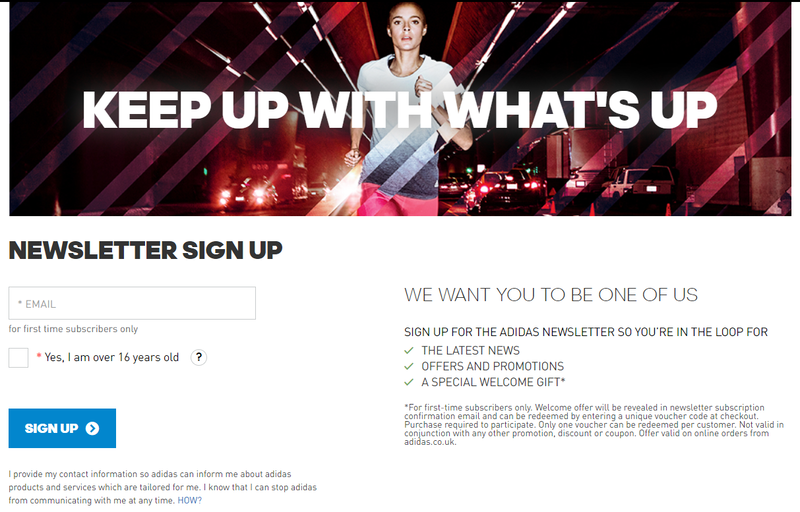 adidas loyalty program signing up page