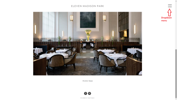 eleven madison park restaurant website features