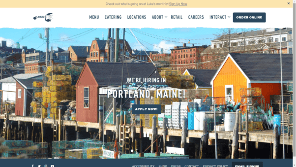 Restaurant Landing Page With Fish Town as the Main Picture