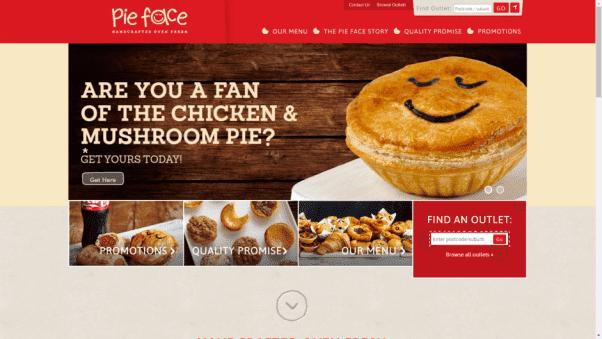 Pieface Restaurant Landing Page