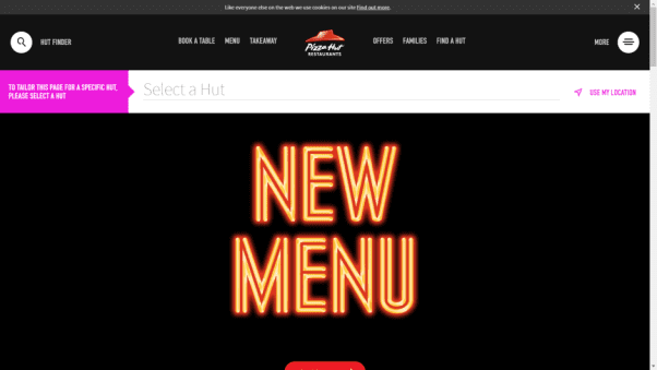Pizza Hut Restaurant Landing Page
