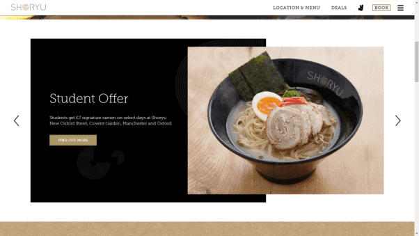 Shoryu Restaurant Website Design