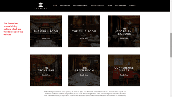 The Dome Restaurant Website Landing Page