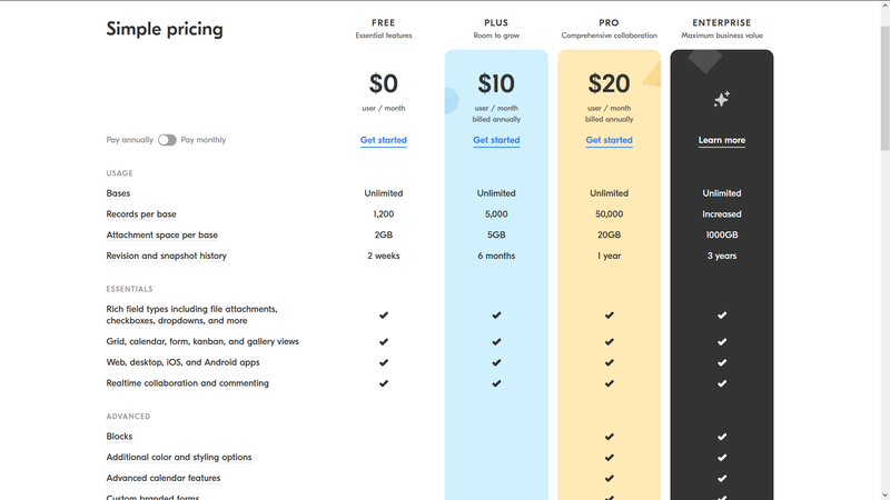 Airtable Subscription Service Pricing Table