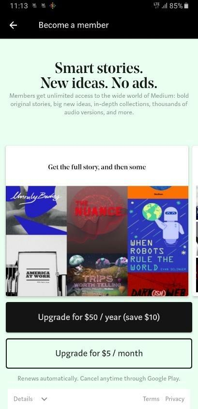 Medium Premium Articles Subscription Service