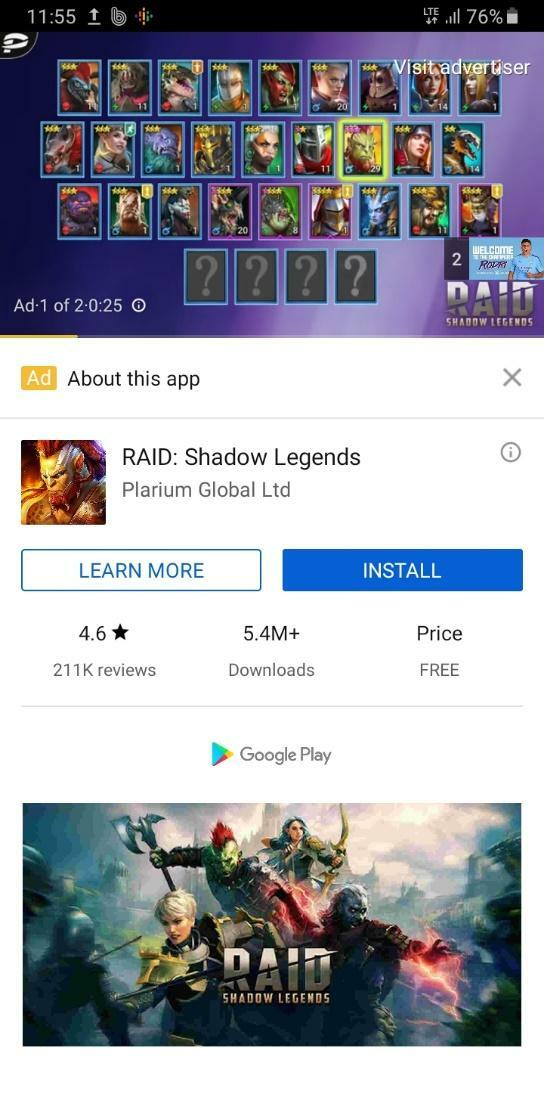 Game App Advert on YouTube