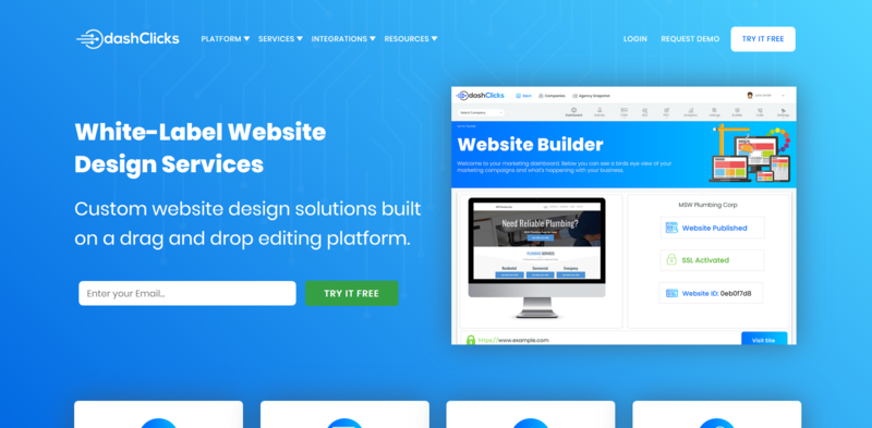 White Label Website Design Services Blue Homepage