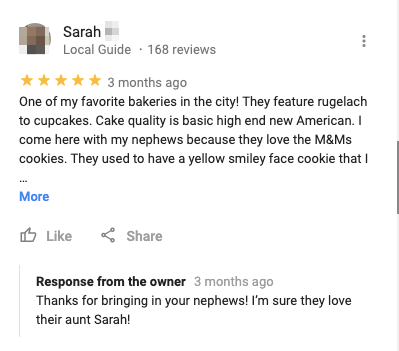 customers restaurant google review