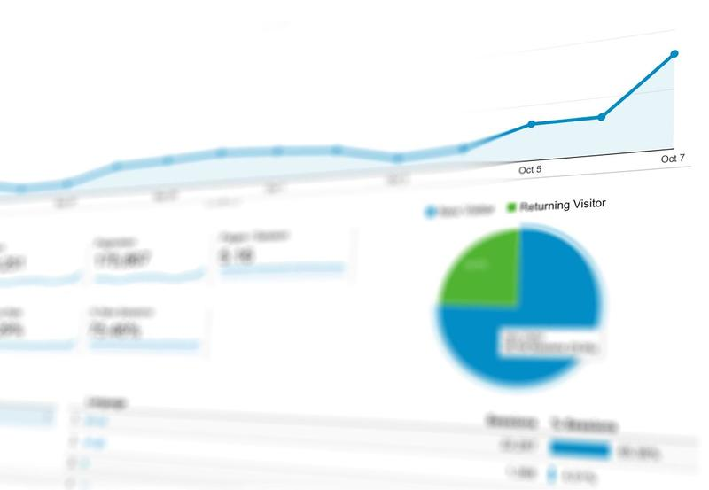 photo of a googles analytics dashboard with a blue graph