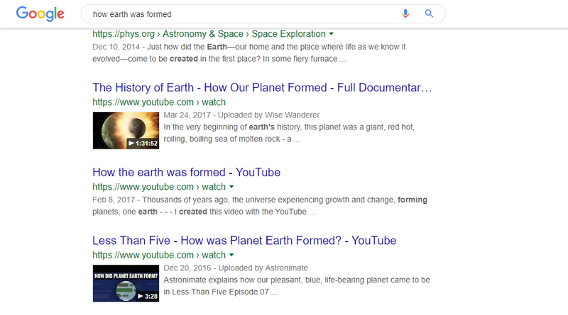 search result from google with videos on the first page