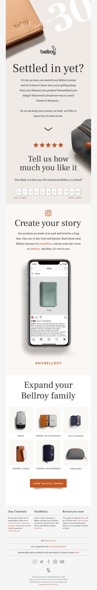 Automated Email From Bellroy Asking for Feedback From the Subscriber
