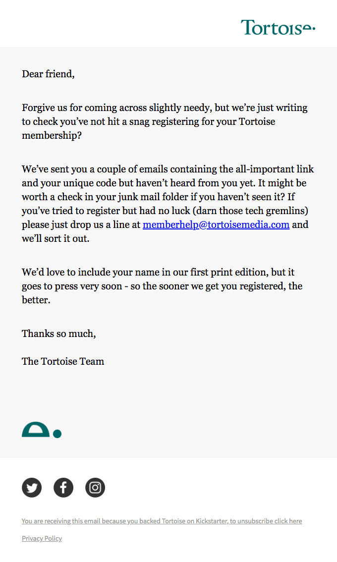 Automated Email From Tortoise Trying Re-Engaged Their Email Subscriber by Listing the Benefits