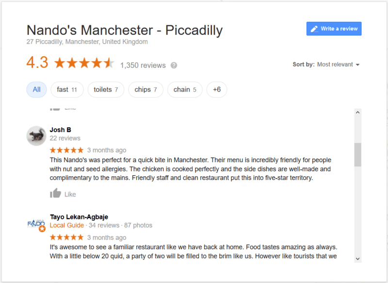 Reviews of a Restaurant on Google