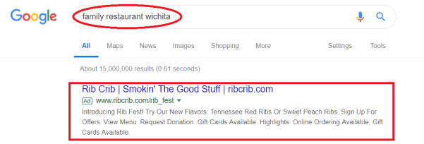 ppc advert of a restaurant on google