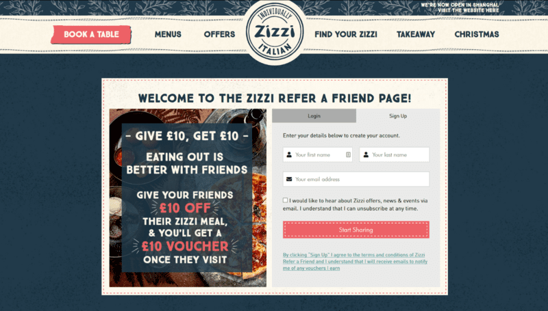 Restaurant Zizzi Website Voucher