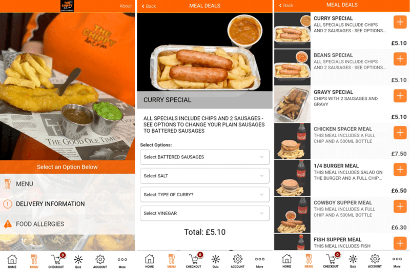 Screenshots of an Orange Restaurant App