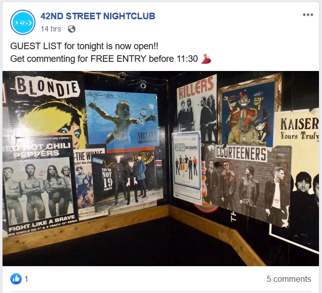 Facebook Post of a Nightlcub Promoting Their Event