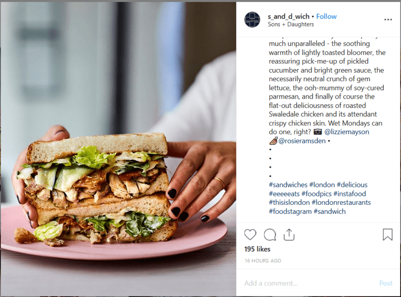Sandwhich Instagram Restaurant Post