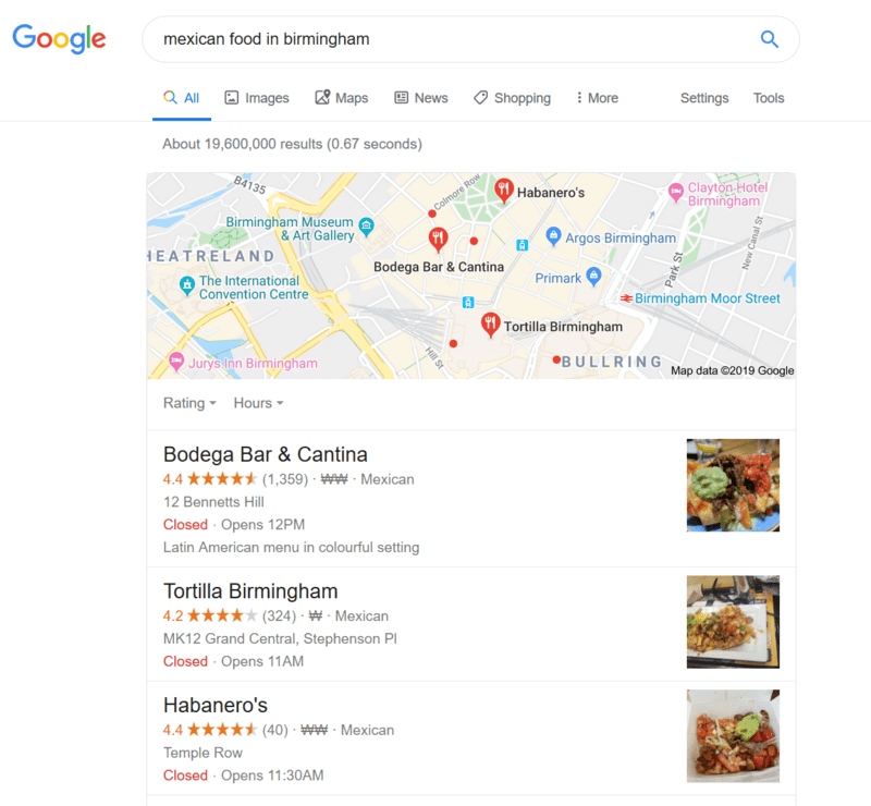 Local Nearby Restaurants on Google
