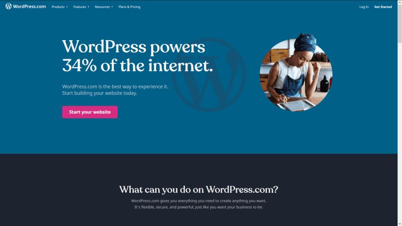 Blue WordPress Homepage