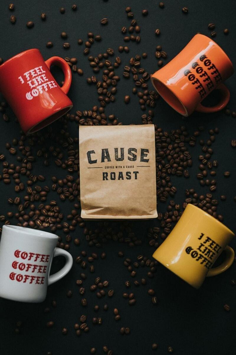 Coffee Beans Near Mugs