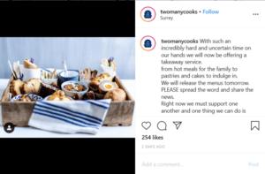 restaurant announcing their coronavirus delivery plans on instagram