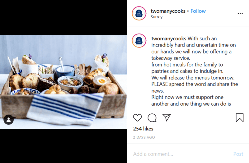 Restaurant Announcing Their Coronavirus Delivery Plans on Instagram