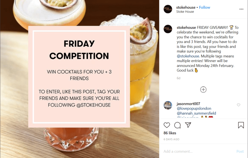 Bar Competition Post on Instagram