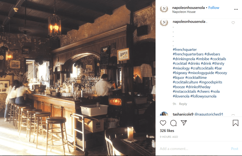 Hashtags on a Bar Social Media Post on Instagram