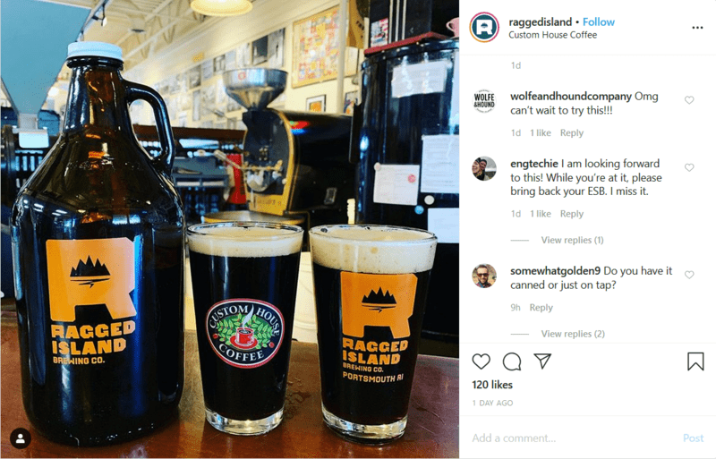 Businesses Collaborating on a Bar Social Media Post on Instagram