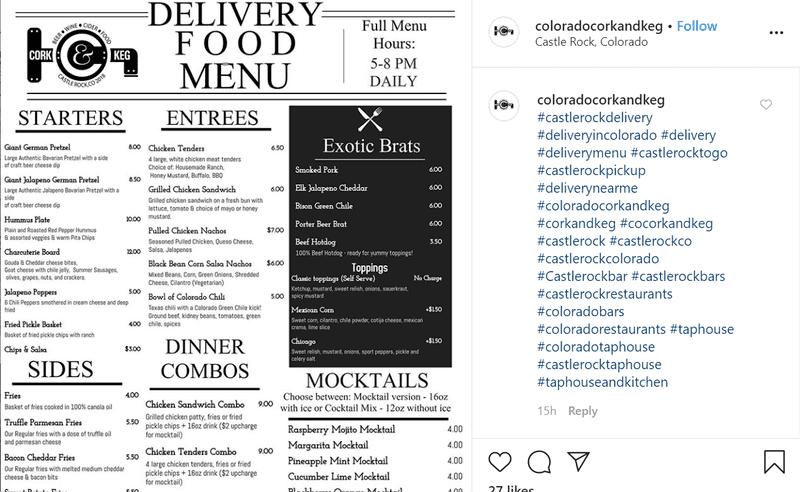 Restaurant Delivery Food Menu on Instagram