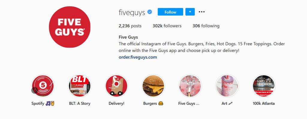 Five Guys Instagram