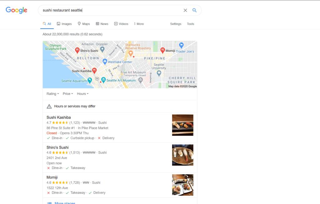 Google Local Pack Restaurant SEO