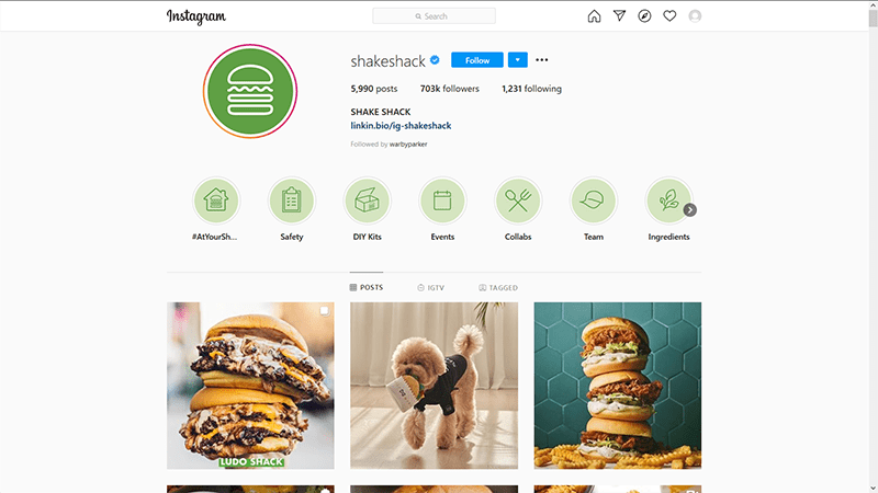 Shake Shack Instagram Profile